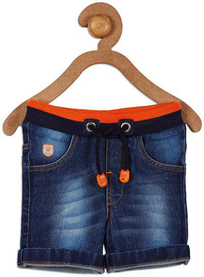 612 League Baby boy Cotton Solid Shorts - Blue