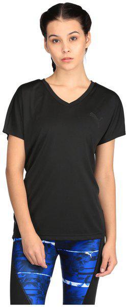 Puma Black Short Sleeves Elevated Sporty T-Shirt