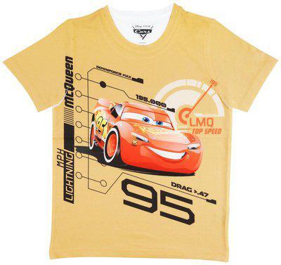 Cars Boy's Plain Regular fit T-Shirt (DCR0014_Yellow 3-4 Years)