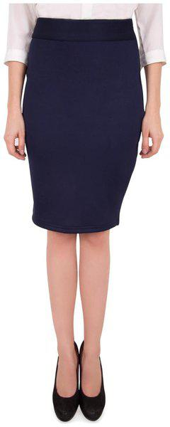 Cattleya Solid Pencil skirt Mini Skirt - Blue