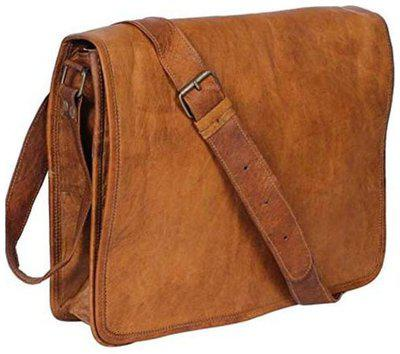 Unisex Real Leather Full Flap Messenger Bag Unisex