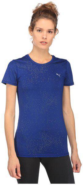 Puma Women Blue Printed Round Neck Essential T-shirt