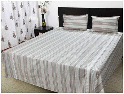 R Home Cotton Striped King Size Bedsheet ( 1 Bedsheet With 2 Pillow Covers , Beige )