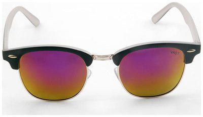 Vast UV Protected Wayfarer Unisex Sunglasses (CM_GOLD_MIRROR_INSIDE_WHITE 52 GOLD)