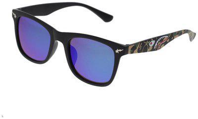 Vast UV Protection Mirror Unisex Wayfarer Sunglasses (STARBLU 52 Blue Lens )