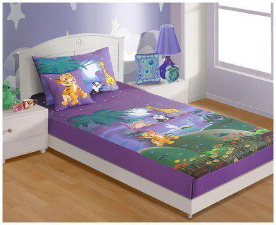 SWAYAM Multi  Single Bed Sheet 1 Pillow Cover