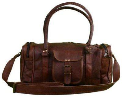 Anshika International Leather Men Duffle bag - Brown