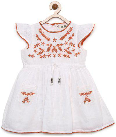 Bella Moda Baby girl Cotton Printed Frock with bloomer - White