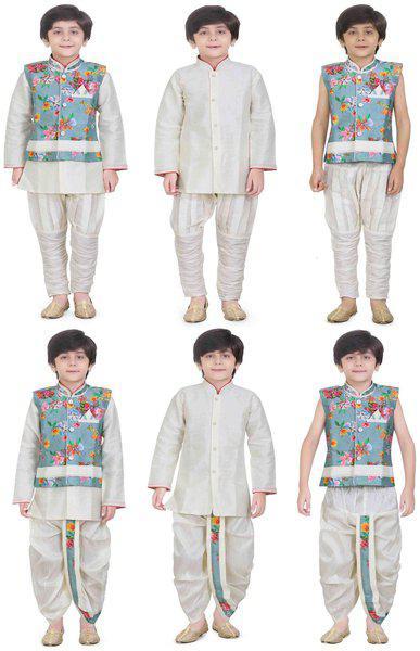 Jeetethnics Boy Silk blend Solid Kurta pyjama set - Cream