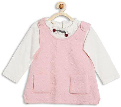 Camey Baby girl Cotton Solid Winter frock - Pink