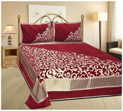 Kritarth Handicrafts Red Corner Bedsheet With Two Pillow Cover