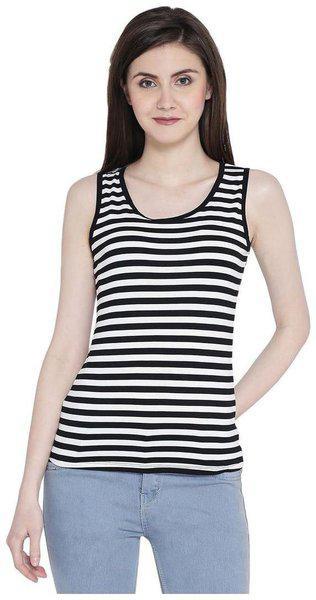 Camey Women's Girl's Round Neck Summer Top Sleeveless Stripe Back Desgn Top
