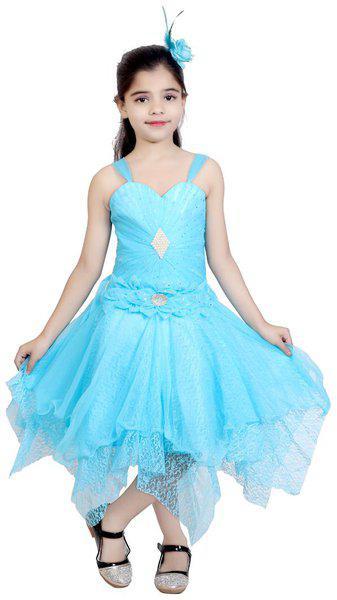 KBKIDSWEAR Girls Midi/Knee Length Party Dress(Blue, Sleeveless)