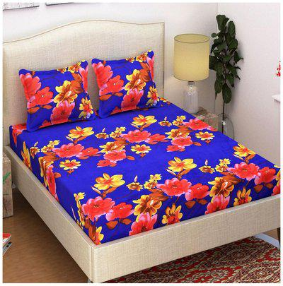 Beautiful 3-D Printed Blue Floral Grace Cotton Double Bedsheet with 2 Pillow Cover- By Azaani