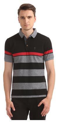 Arrow Men Regular Fit Polo Neck Striped T-Shirt - Black