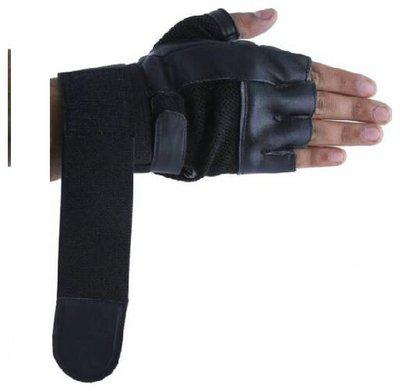 Leather Palm Support Weight Lifting Wrist Support Gym & Fitness Gloves