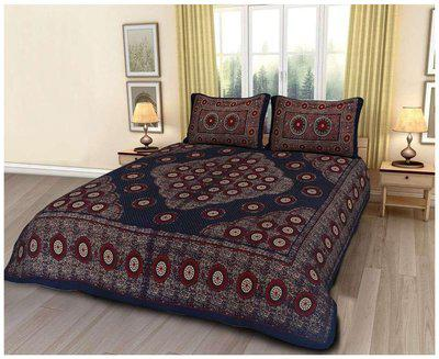 Divinity Cotton Bedding Set (Double Bedsheet with 2 Fully Printed Pillow Set) - SRJ-MC04-Blue