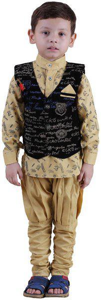 Qeboo Boy Poly georgette Printed Kurta pyjama set - Brown