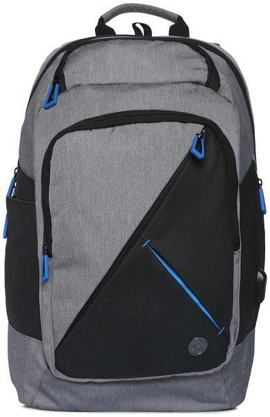 United Colors Of Benetton Unisex Black & Grey Colourblocked Backpack