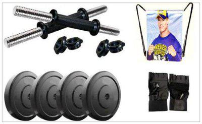 Monika Sports 4 Plates Of 2 Kg Each With Dumbell Rods plus 1 String Bag plus 1 Pair Of Gym Gloves Gym & Fitness Kit