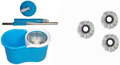 Maison & Cuisine 360 deg Rotating Steel Spinner Easy Floor Cleaning Pvc Bucket With 3 Heads Microfiber Assorted Color PVC Bucket Mop Set