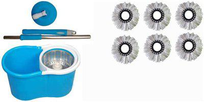 Maison & Cuisine 360 deg Rotating Steel Spinner Easy Floor Cleaning Pvc Bucket With 6 Heads Microfiber Assorted Color PVC Bucket Mop Set
