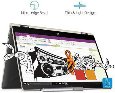 HP Pavilion x360 Convertible 14-cd0081TU 14 inch FHD Slim Laptop with Pen (8th Gen Intel Core i5-8250U/256 GB SSD/8GB RAM/Windows 10 Home (Pale Gold)