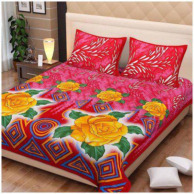 Being Handloom Premium Jaipuri Print Cotton Bedsheet with 2 Pillow Covers(90x100)