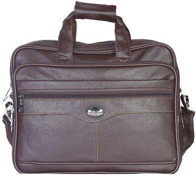 Goodwin Brown Faux leather Laptop messenger bag