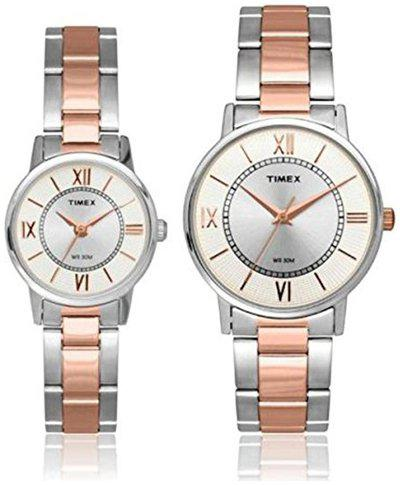 Timex Analogue Silver Dial Couple Watch- TW00PR213