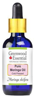 Greenwood Essential Pure Moringa Oil (Moringa oleifera) with Glass Dropper 100% Natural Therapeutic Grade Cold Pressed 15ml