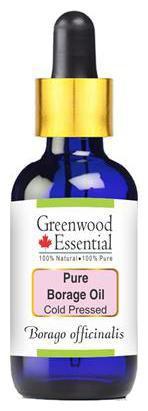 Greenwood Essential Pure Borage Oil (Borago officinalis) with Glass Dropper 100% Natural Therapeutic Grade Cold Pressed 15ml
