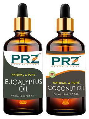 PRZ Combo of Eucalyptus Oil & Extra Virgin Coconut Oil For Hair Growth, Skin Care (Each 15 ml ) - Pure Natural For Aromatherapy Body Massage, Skin Care & Hair ReGrowth