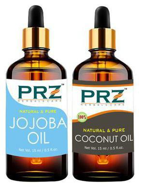PRZ Combo of Jojoba Oil & Extra Virgin Coconut Oil for Hair Growth, Skin Care (Each 15 ml ) - Pure Natural For Aromatherapy Body Massage, Skin Care & Hair ReGrowth