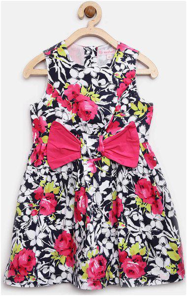 NautiNati Girls Midi/Knee Length Casual Dress(Multicolor, Sleeveless)