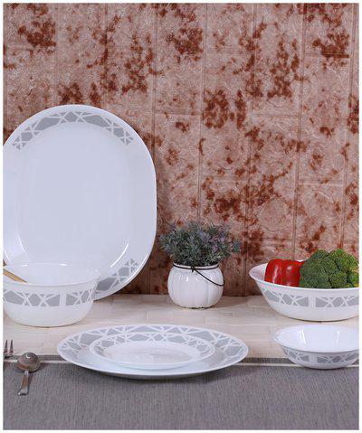 Corelle Vitrelle glass Dinner Sets - Set of 21 , White
