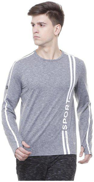 Allen Solly Men Regular Fit Round Neck Self Design T-Shirt - Blue