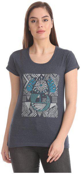 CHEROKEE Women Blue Regular fit Round neck Cotton T shirt