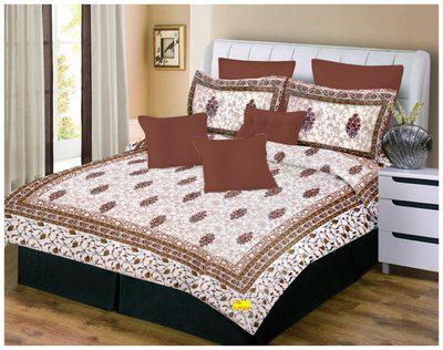 Fab Nation Cotton 3D Printed King Bedsheet ( 1 Bedsheet with 2 Pillow Covers , Multi )