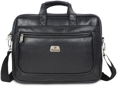 Hot Shot Black Leather Laptop messenger bag