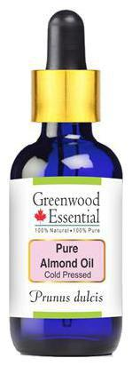 Greenwood Essential Pure Almond Oil (Prunus dulcis) with Glass Dropper 100% Natural Therapeutic Grade Cold Pressed 100ml