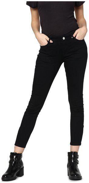 ONLY Women Slim fit Mid rise Solid Jeans - Black