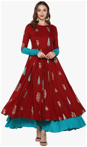 Indian Virasat Women Rayon Printed Anarkali Kurti dress - Maroon