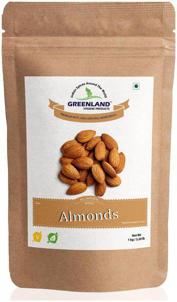 GREENLAND Whole Almonds (Badam) 1kg -Premium Grade (Pack of 2, Each 500gm)