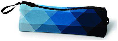 Paper Plane Design Stationary Pencil/ Pen Case Multipurpose Canvas Zipper Pouch (8 X 3 inch, Geometric Print, Blue)