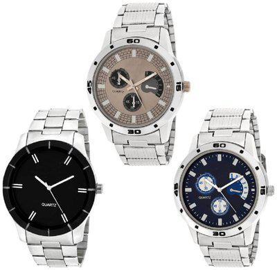 K&U pack of 3 ES109 Bahu Chronograph Pattern Hybrid Watch - For Men