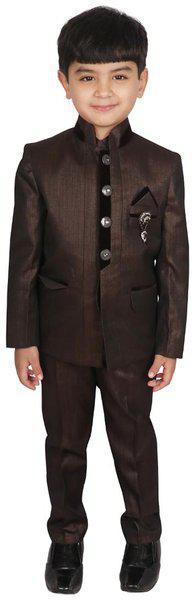 SGYUVRAJ Boys Festive & Party Blazer, Shirt and Trouser Set(Brown Pack of 3)