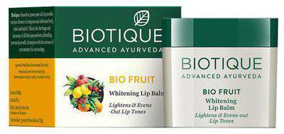 Biotique Lip Balm - Whitening Bio Fruit Lightens & Evens Out Lip Tones 12 gm