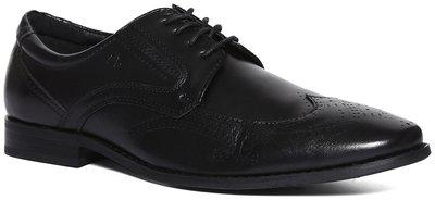 Arrow Men Black Derby Formal Shoes - ROUND TOE LEATHER BROGUE SHOES - 2521819505