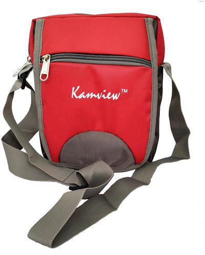 KAMVIEW Red & Grey Polyester Sling bag